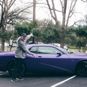 Fostering Hope Austin Board Chair, Andy Graham picked up Bob Goff in a purple 707 Dodge Hellcat!